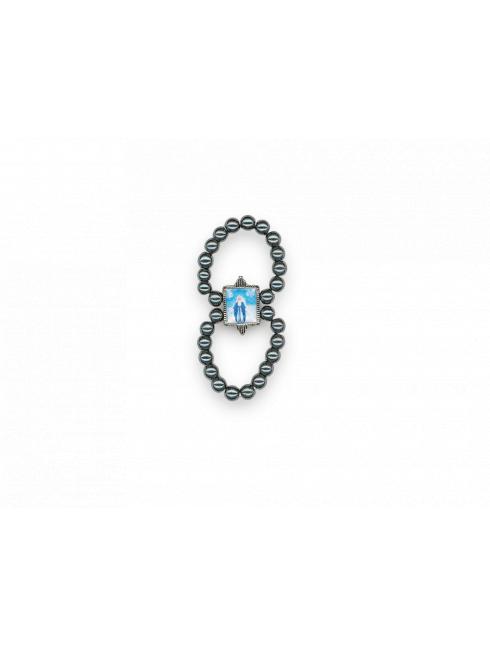 Anello rosario con grani effetto ematite