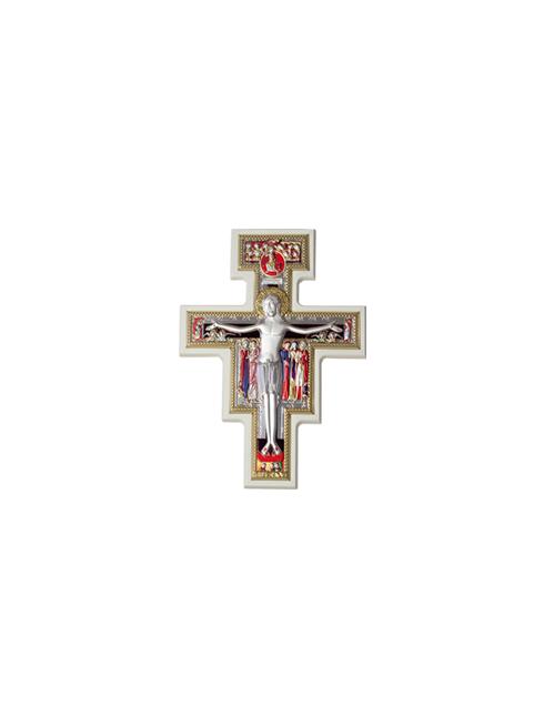 Crocifisso in legno con placca in argento bilaminato
