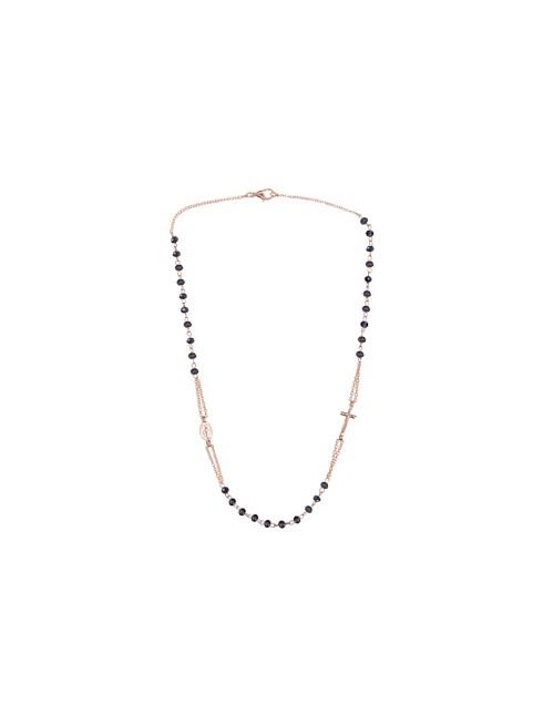 Collana tre decine finitura oro rosa con grani in semi-cristallo