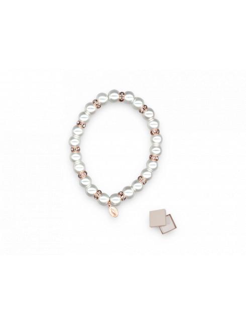 Bracciale elastico con grani di perla e rosè con astuccio