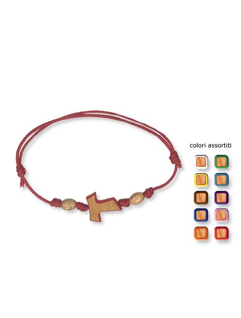 Bracciale in corda regolabile con Tau in legno
