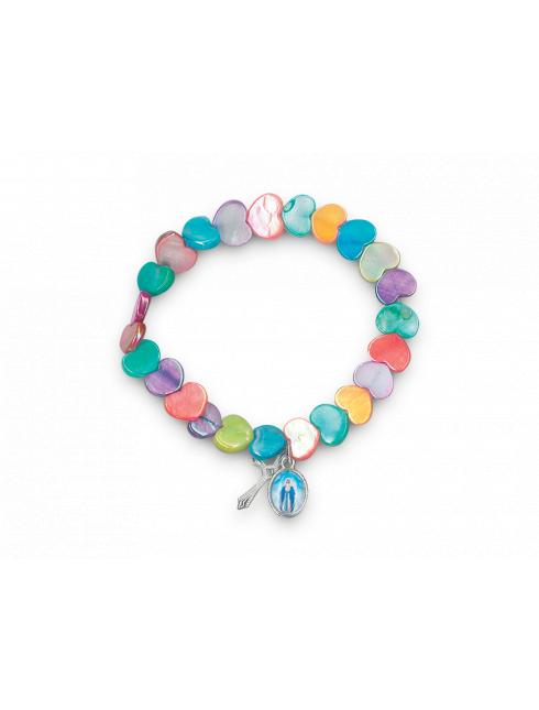 Bracciale elastico con cuoricini multicolor