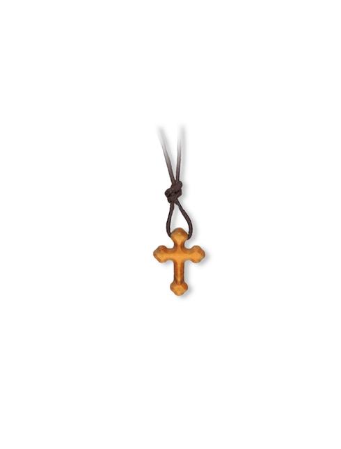 Ciondolo croce barocca in legno d'ulivo