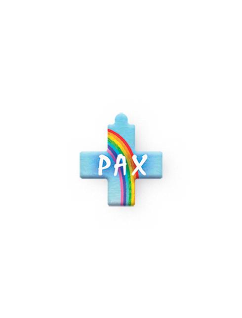 Serie da collo con decorazioni a stampa modello croce con scritta Pax