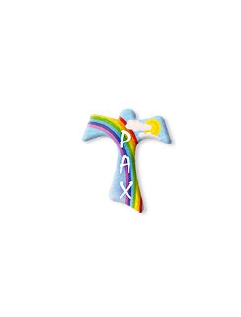 Serie da collo con decorazioni a stampa modello Tau con scritta Pax