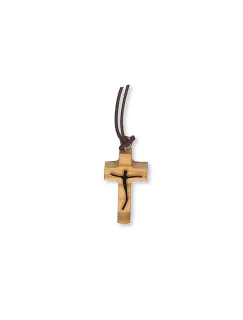 Ciondolo in legno d'ulivo con Cristo in rilievo