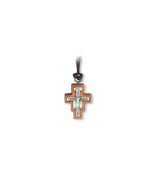 Ciondolo in legno d'ulivo con croce di San Damiano