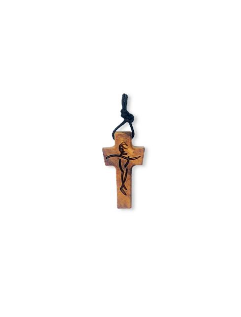 Ciondolo in legno d'ulivo con Cristo inciso