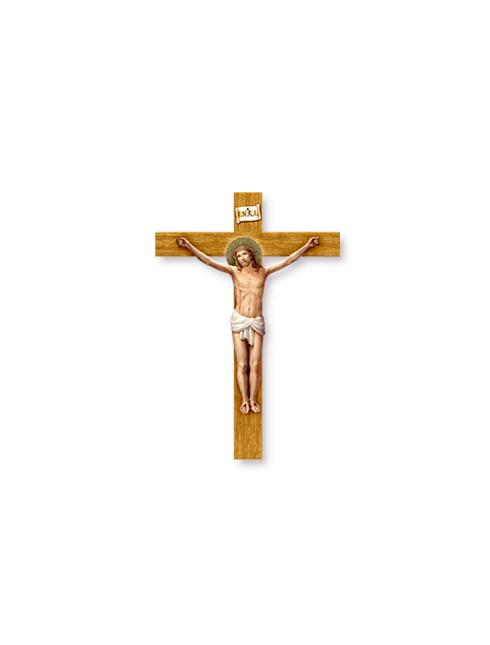 Crocifisso sagomato effetto legno con Cristo in rilievo