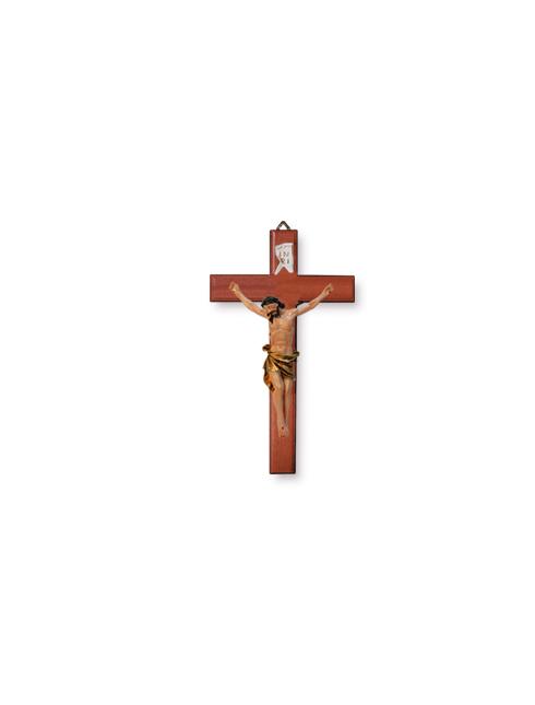 Croce in legno di faggio e corpo in resina dipinta mano