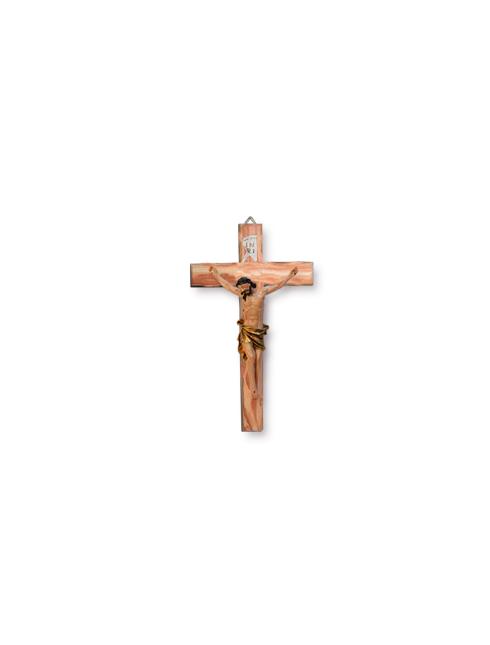 Croce in legno d'ulivo con corpo in resina dipinto a mano