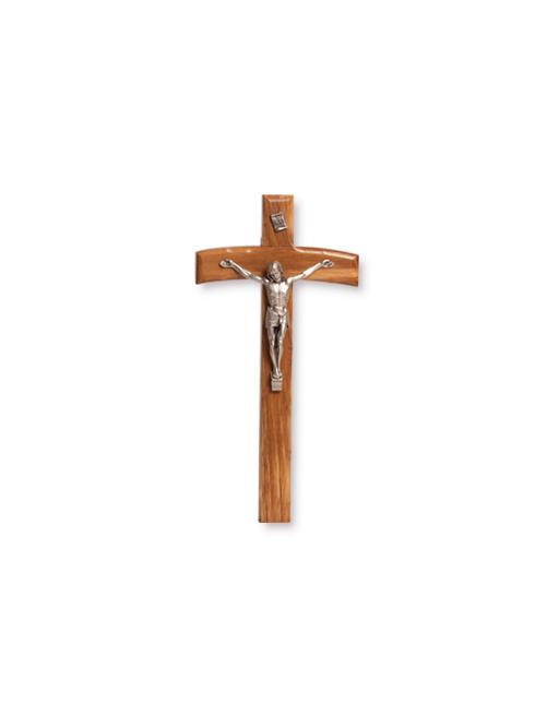 Croce in legno d'ulivo con Cristo in metallo