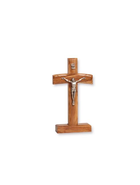 Croce in legno d'ulivo con Cristo in metallo e base