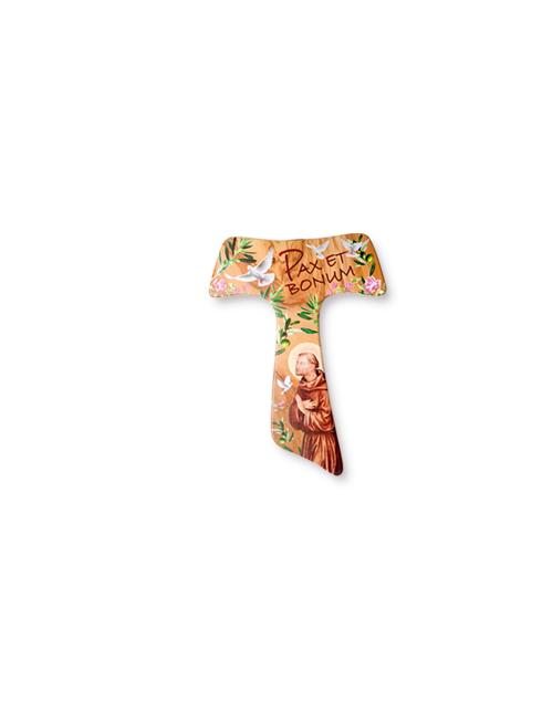 Crocifisso Tau in legno d'ulivo con decori colorati ed effetto lucido e opaco