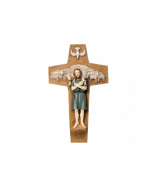 Croce in Resina Dipinta a Mano Buon Pastore