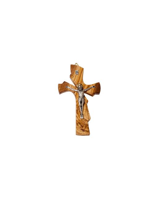 Croce in legno di ulivo con Cristo in metallo argentato