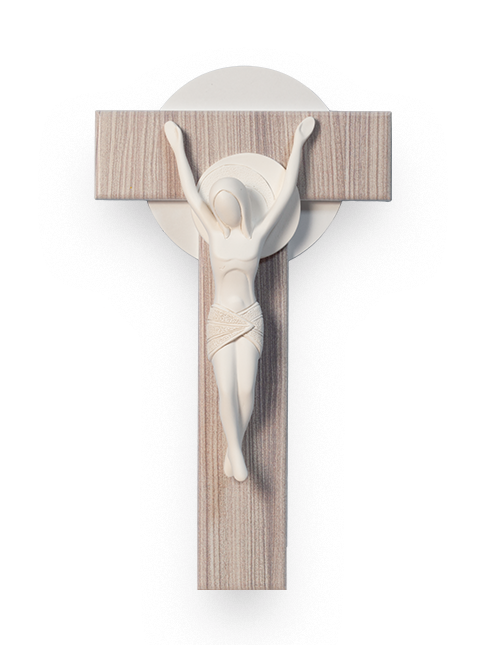Cristo in resina su croce in legno