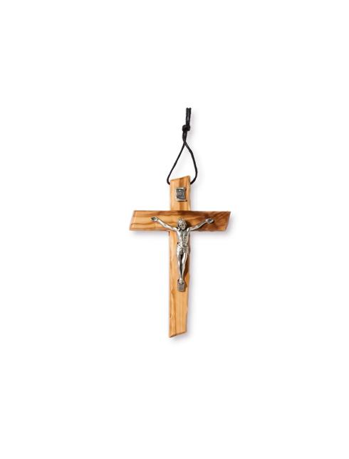 Croce in legno d'ulivo con corpo in metallo