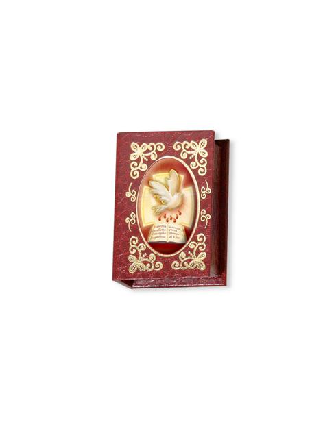 Portarosario con decori in oro a caldo e immagine smaltata