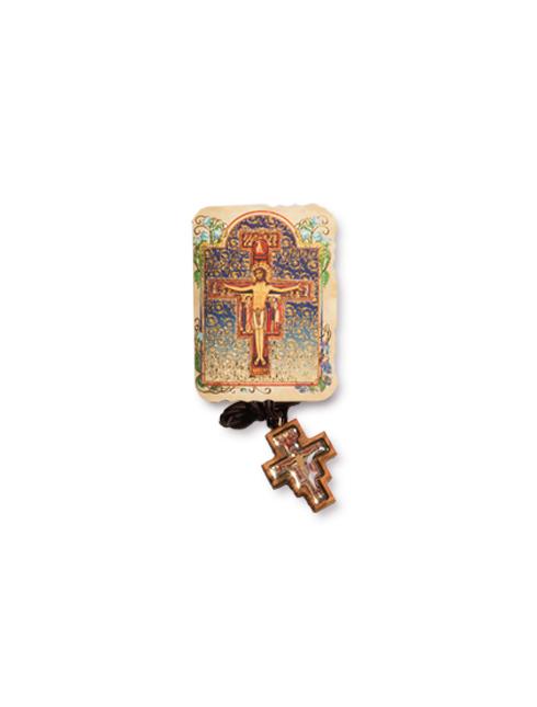 Confezione con Croce San Damiano da collo in legno d'ulivo con immagine smaltata
