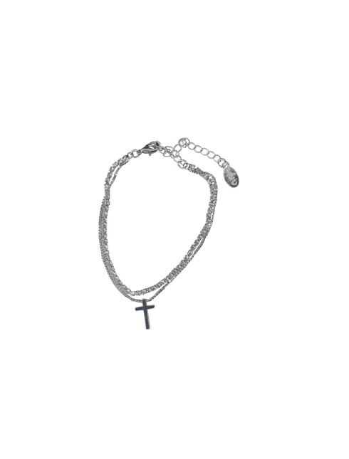 Bracciale doppio filo con strass e croce pendente