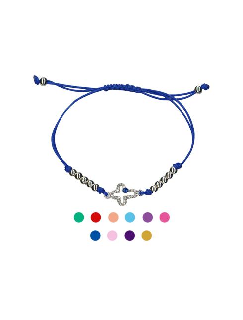 Bracciale in corda regolabile con croce strass