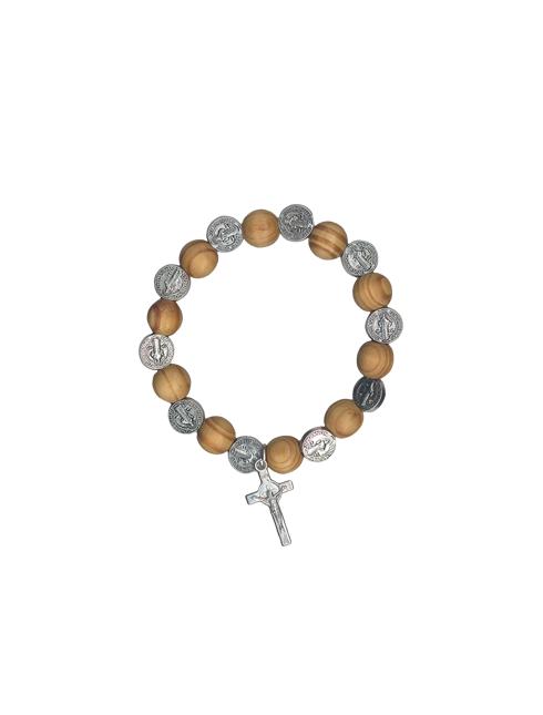 Bracciale in elastico con grani in legno e medaglie San Benedetto