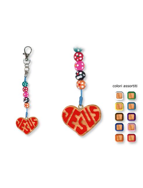 Portachiavi in legno d'ulivo forma cuore con scritta Jesus