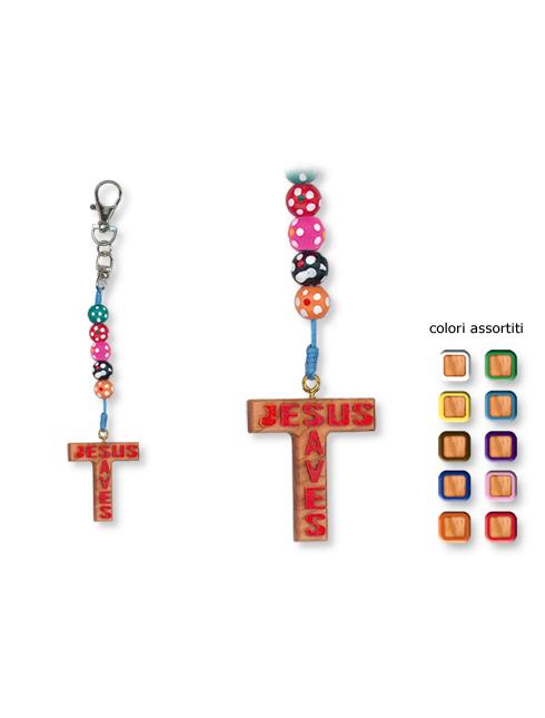 Portachiavi in legno d'ulivo con croce con scritta Jesus