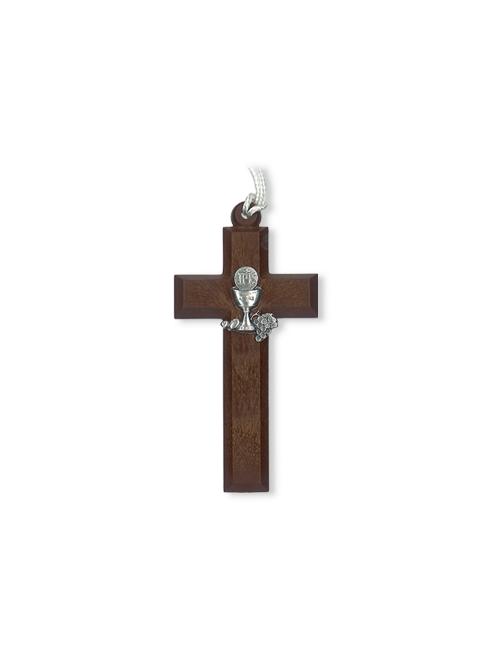 Croce in polimero effetto legno con calice in metallo colore argento
