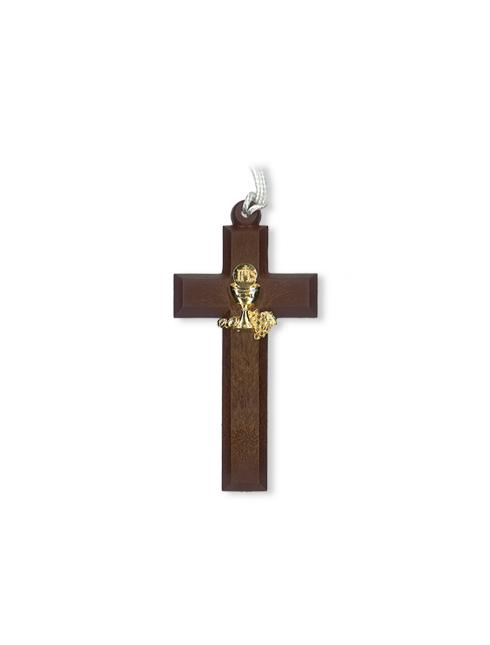 Croce in polimero effetto legno con calice in metallo colore oro