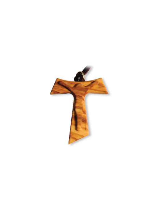 Ciondolo Tau in legno con Cristo in rilievo