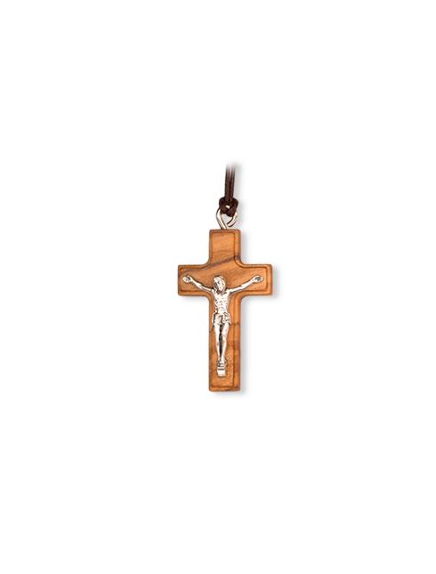 Ciondolo in legno d'ulivo con Cristo in metallo