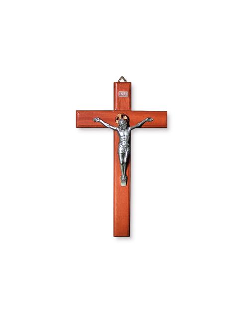 Croce in faggio sagomata con cristo in metallo