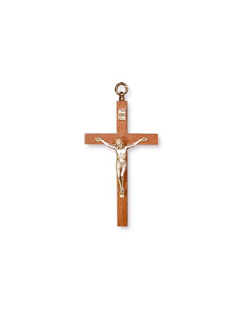 Croce in ciliegio con corpo in metallo