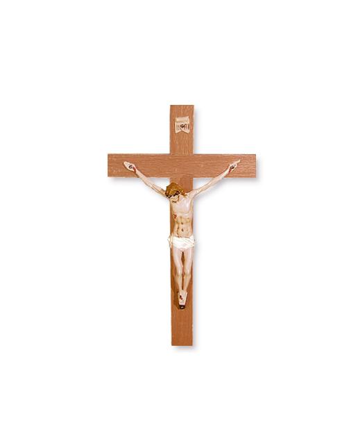 Croce in ciliegio con corpo in plastica