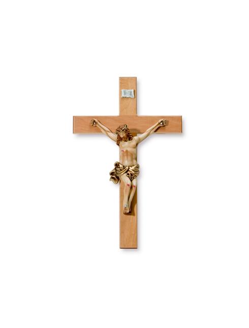 Croce in legno d'ulivo con corpo a rilievo in resina dipinto a mano