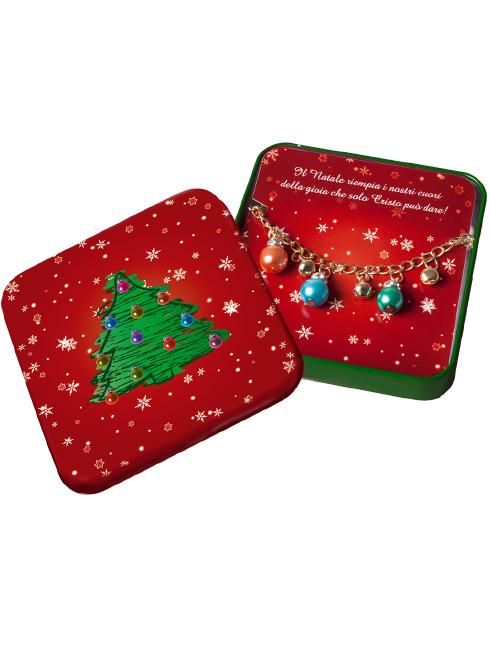 Scatolina in metallo con bracciale natalizio