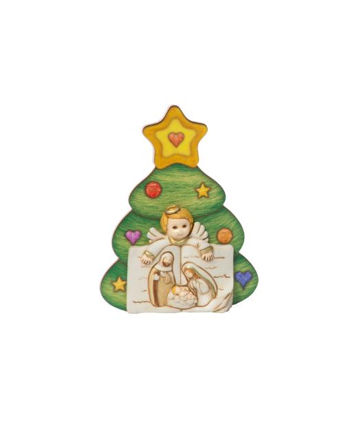 Angioletto natalizio in resina dipinto a mano con alberello in cartoncino