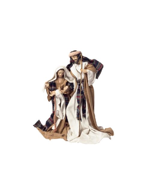 Sacra Famiglia in resina dipinta a mano ed abiti in stoffa