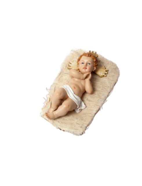 Bambino Gesù in resina dipinto a mano su culletta in canapa