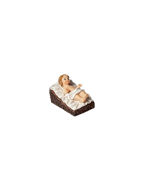 Bambino Gesù in resina dipinto a mano su culletta
