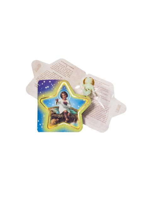 Confezione con preghiera a forma di stella con bambinello