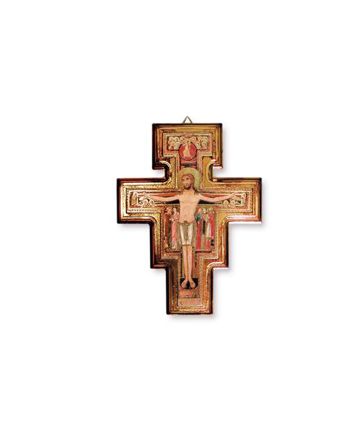 Croce di San Damiano in polimero con effetto oro antico