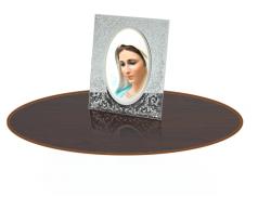 Quadretto in cristallo con retro in legno e dettagli in rilievo