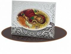 Quadretto in Cristallo con retro in legno e dettagli argentati in rilievo