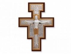 Crocifisso in legno con placca in argento bilaminato con dettagli dorati