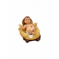 Bambino in resina con culla